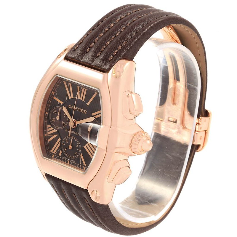 Cartier Roadster Chronograph XL 18K Rose Gold Mens Watch W62042Y5 SwissWatchExpo