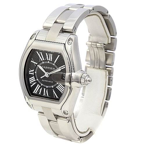 2244 Cartier Roadster Mens Stainless Steel Large Black Dial W62025v3 SwissWatchExpo