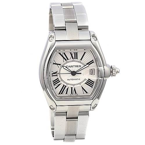 Cartier Roadster Mens Large Stainless Steel Silver Dial W62025v3 SwissWatchExpo