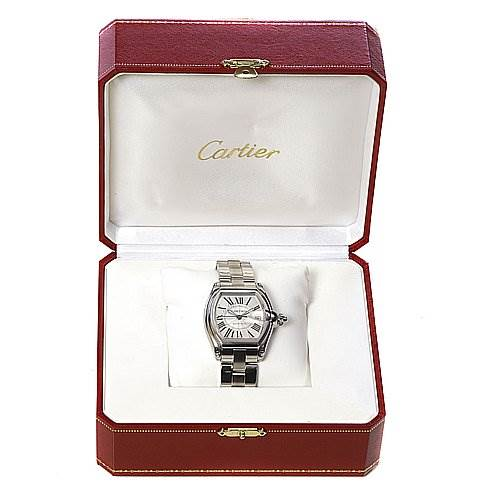 2247 Cartier Roadster Mens Large Stainless Steel Silver Dial W62025v3 SwissWatchExpo