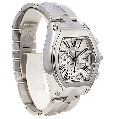 2217 Cartier Roadster Chronograph Mens Silver Dial W62019x6 SwissWatchExpo