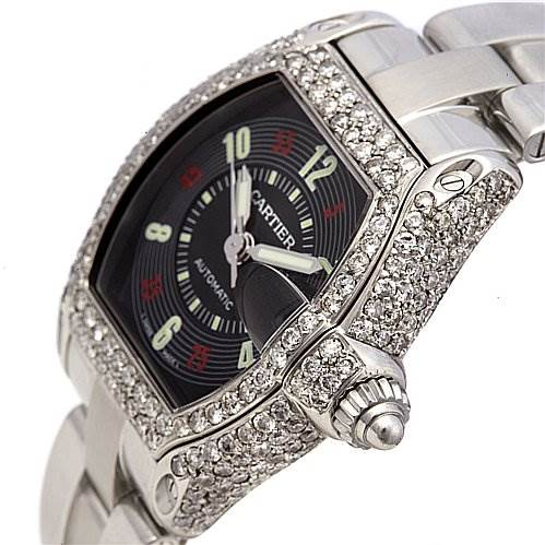 2060 Cartier Roadster Large Mens 3.5ct Diamonds W62004v3 SwissWatchExpo