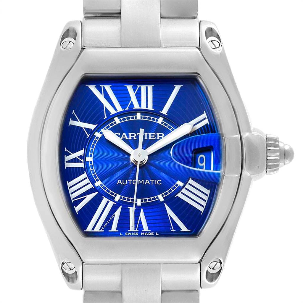 18806 Cartier Roadster Blue Dial Steel Mens Watch W62048V3 Box Papers SwissWatchExpo