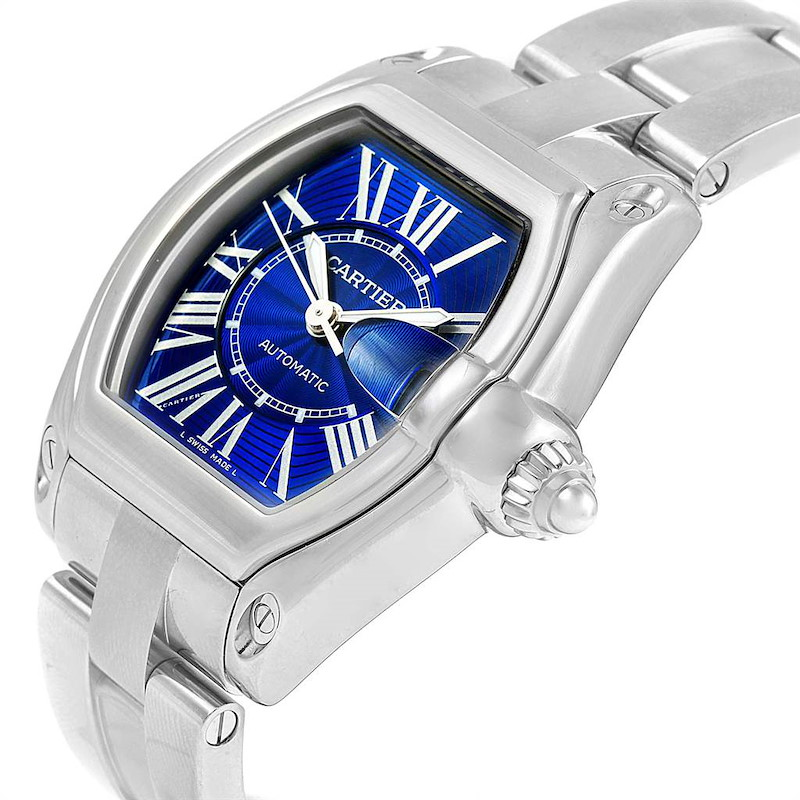 Cartier Roadster Blue Dial Steel Mens Watch W62048V3 Box Papers SwissWatchExpo