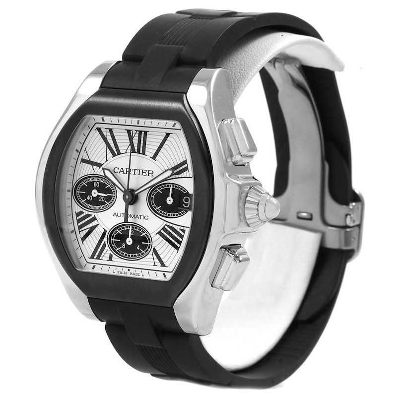 Cartier Roadster Rubber Strap Chronograph Mens Watch w6206020 SwissWatchExpo