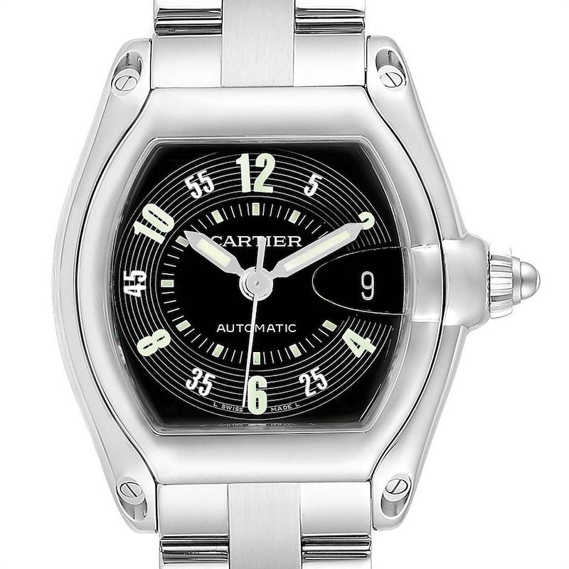 Cartier Roadster Black Arabic Dial Steel Mens Watch W62004V3 SwissWatchExpo