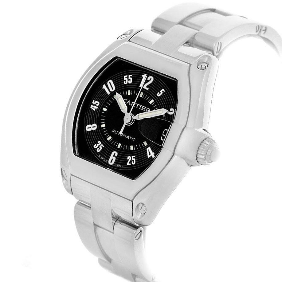 10272 Cartier Roadster Large Mens Steel Black Dial Watch W62004V3 SwissWatchExpo