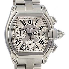 2328 Cartier Roadster Chronograph Mens Silver Dial W62019x6 SwissWatchExpo