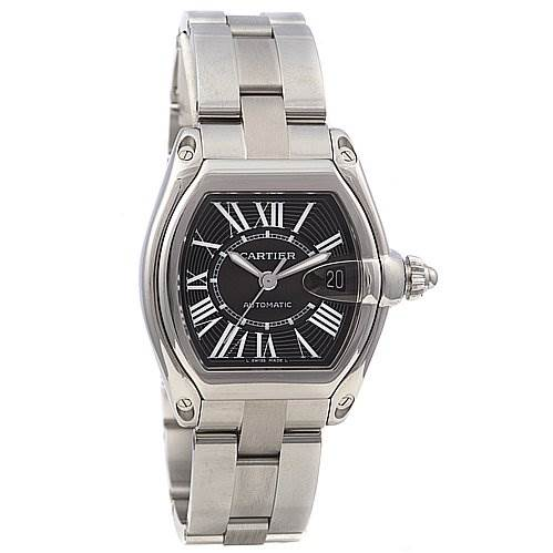 Cartier Roadster Mens Ss Large Black Dial W62025v3 SwissWatchExpo