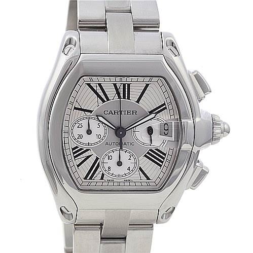 Cartier Roadster Chronograph Mens Silver Dial W62019x6 SwissWatchExpo