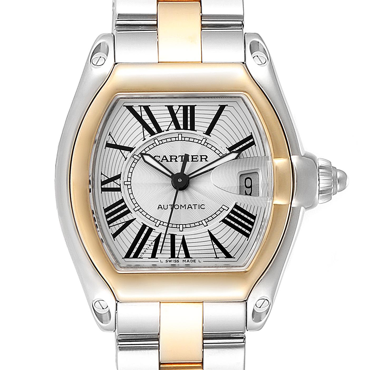 Cartier Roadster Yellow Gold Steel Automatic Mens Watch W62031Y4 Box SwissWatchExpo
