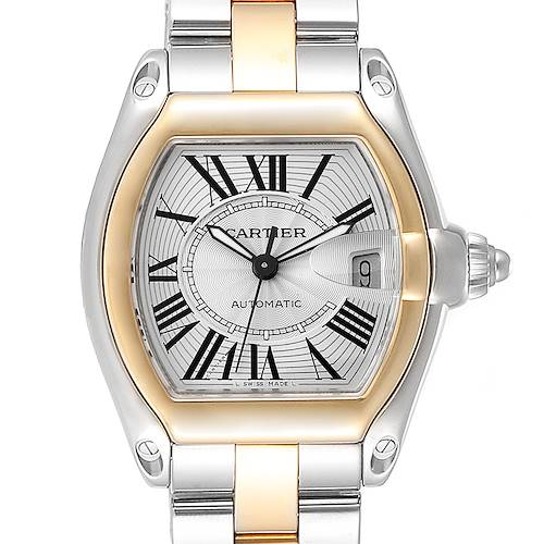 Photo of Cartier Roadster Yellow Gold Steel Automatic Mens Watch W62031Y4 Box