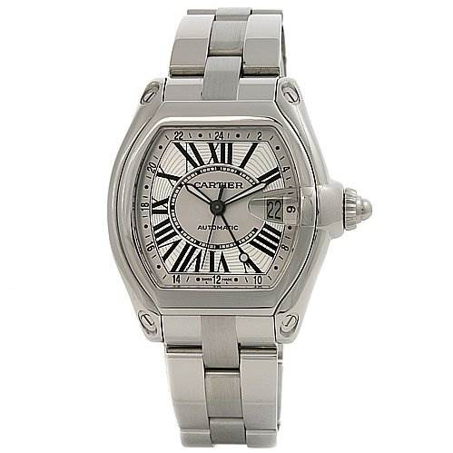 Cartier Roadster Mens X-large Gmt Silver Dial W62032x6 SwissWatchExpo