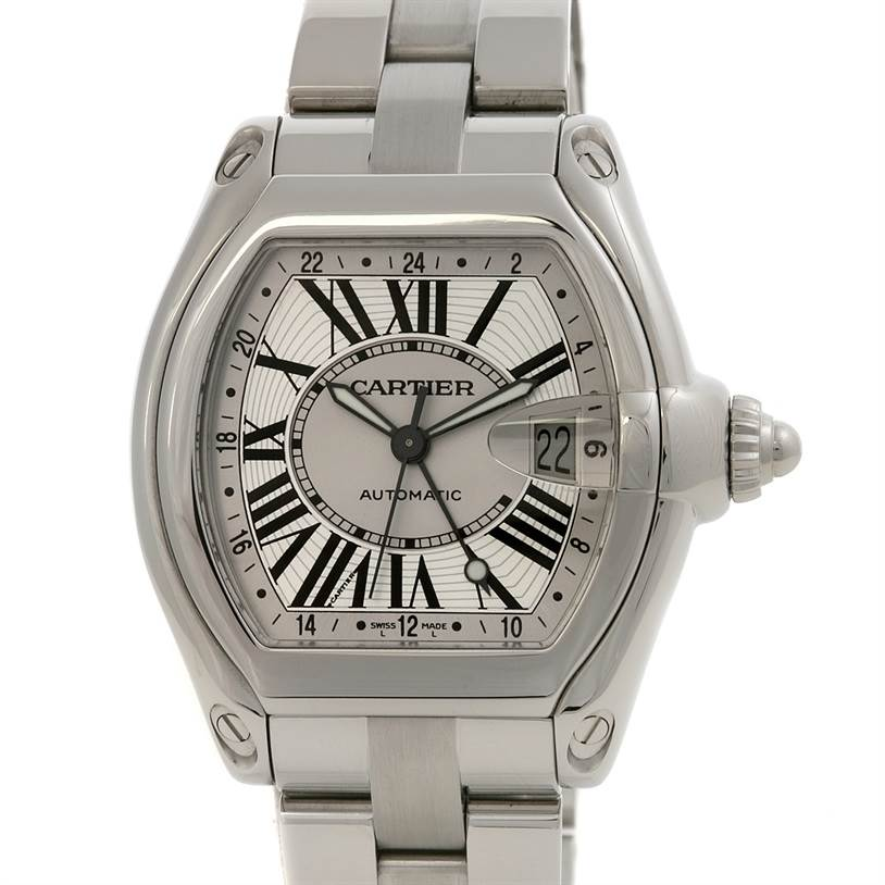 2431 Cartier Roadster Mens X-large Gmt Silver Dial W62032x6 SwissWatchExpo