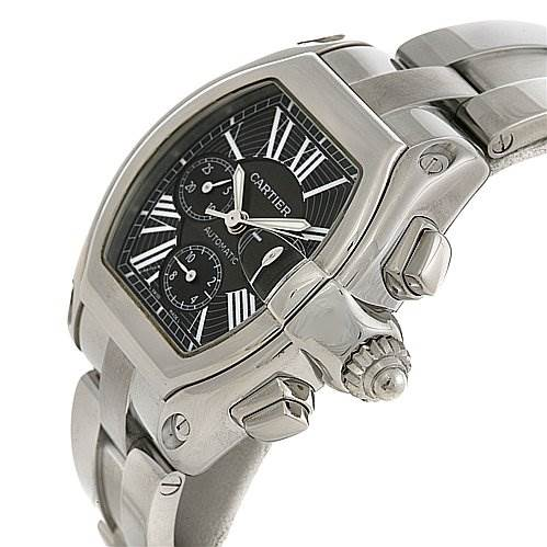 2427 Cartier Roadster Chronograph Mens Black Dial W62020x6 SwissWatchExpo