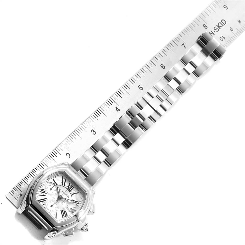 19801 Cartier Roadster XL Chronograph Silver Dial Mens Watch W62019X6 Box SwissWatchExpo