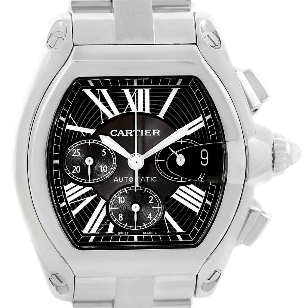 20775 Cartier Roadster XL Chrono Black Dial Automatic Mens Watch W62020X6  SwissWatchExpo