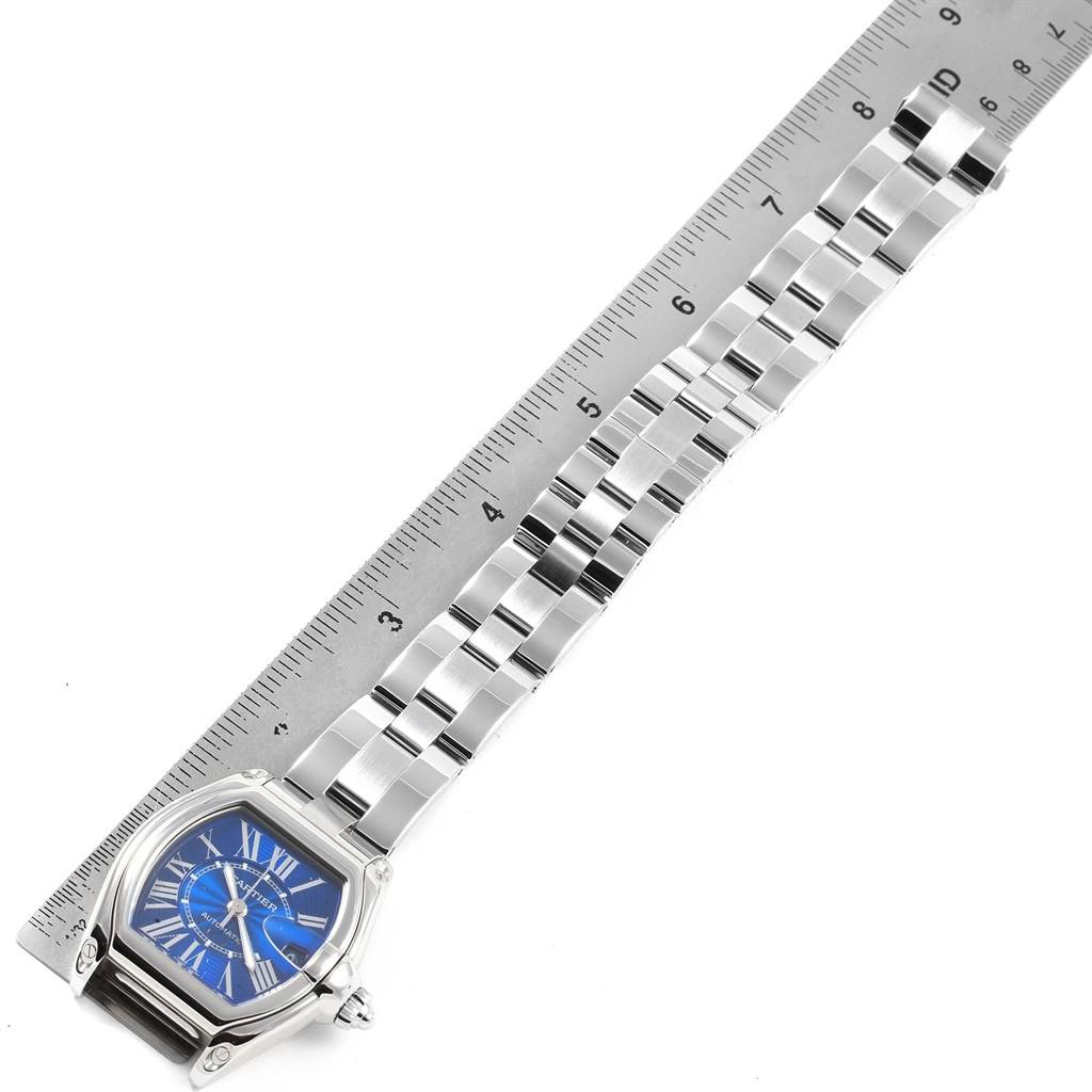 20941 Cartier Roadster Blue Dial Steel Mens Watch W62048V3 Box Papers SwissWatchExpo