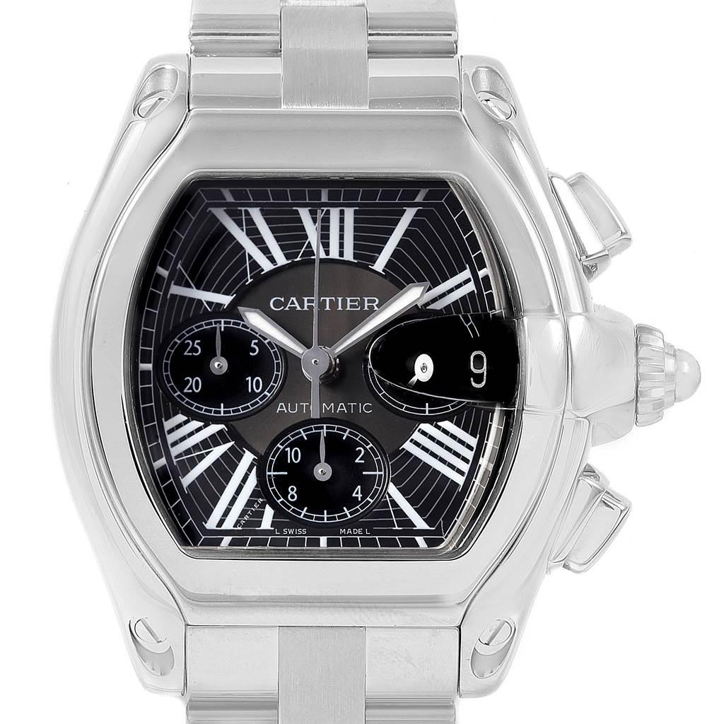 20754 Cartier Roadster XL Chrono Black Dial Automatic Mens Watch W62020X6 SwissWatchExpo