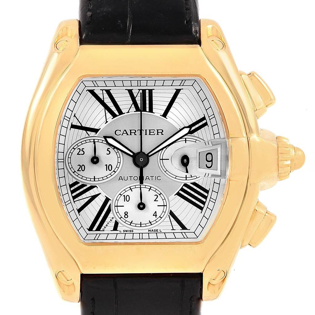 21429 Cartier Roadster Chronograph Yellow Gold Black Strap Watch W62021Y3 SwissWatchExpo