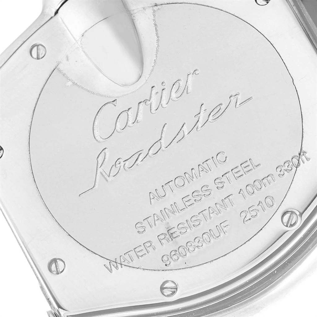 3655X Cartier Roadster Silver Roman Dial Steel Mens Watch W62025V3 SwissWatchExpo