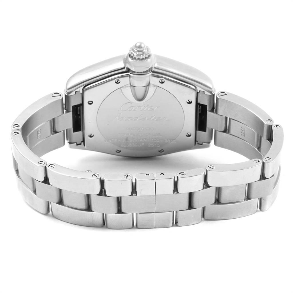 3655X Cartier Roadster Silver Roman Dial Steel Mens Watch W62025V3 SwissWatchExpo