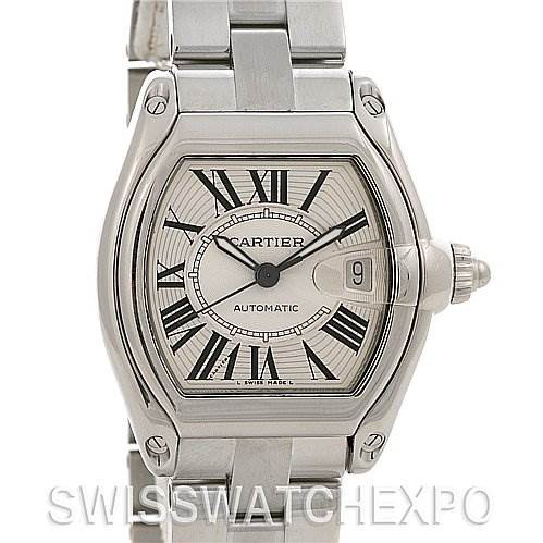 Cartier Roadster Mens Ss Large Silver Dial W62025v3 SwissWatchExpo