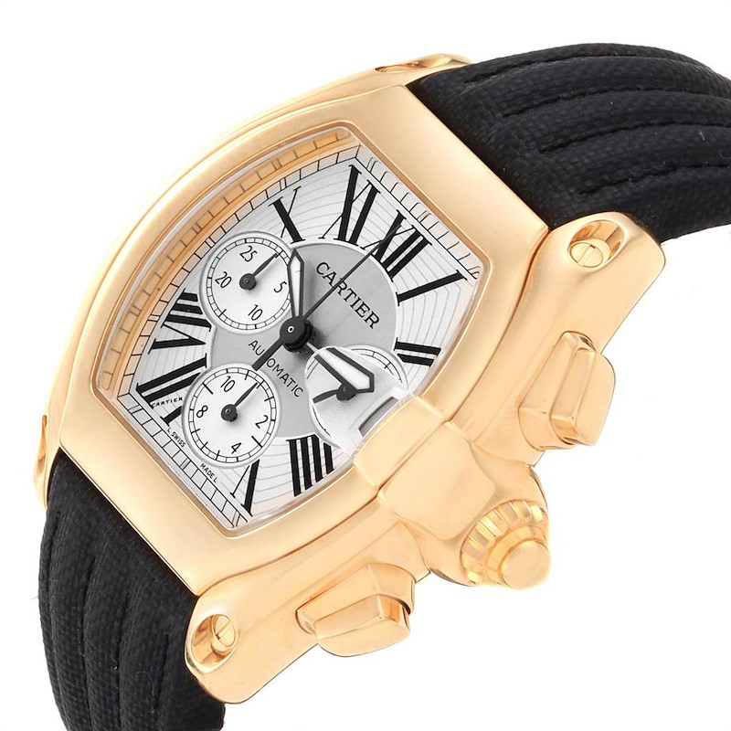 Cartier Roadster Chronograph Yellow Gold Black Strap Watch W62021Y3 Box Papers SwissWatchExpo