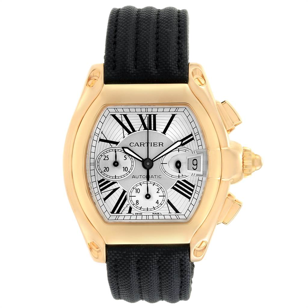 22857 Cartier Roadster Chronograph Yellow Gold Black Strap Watch W62021Y3 Box Papers SwissWatchExpo