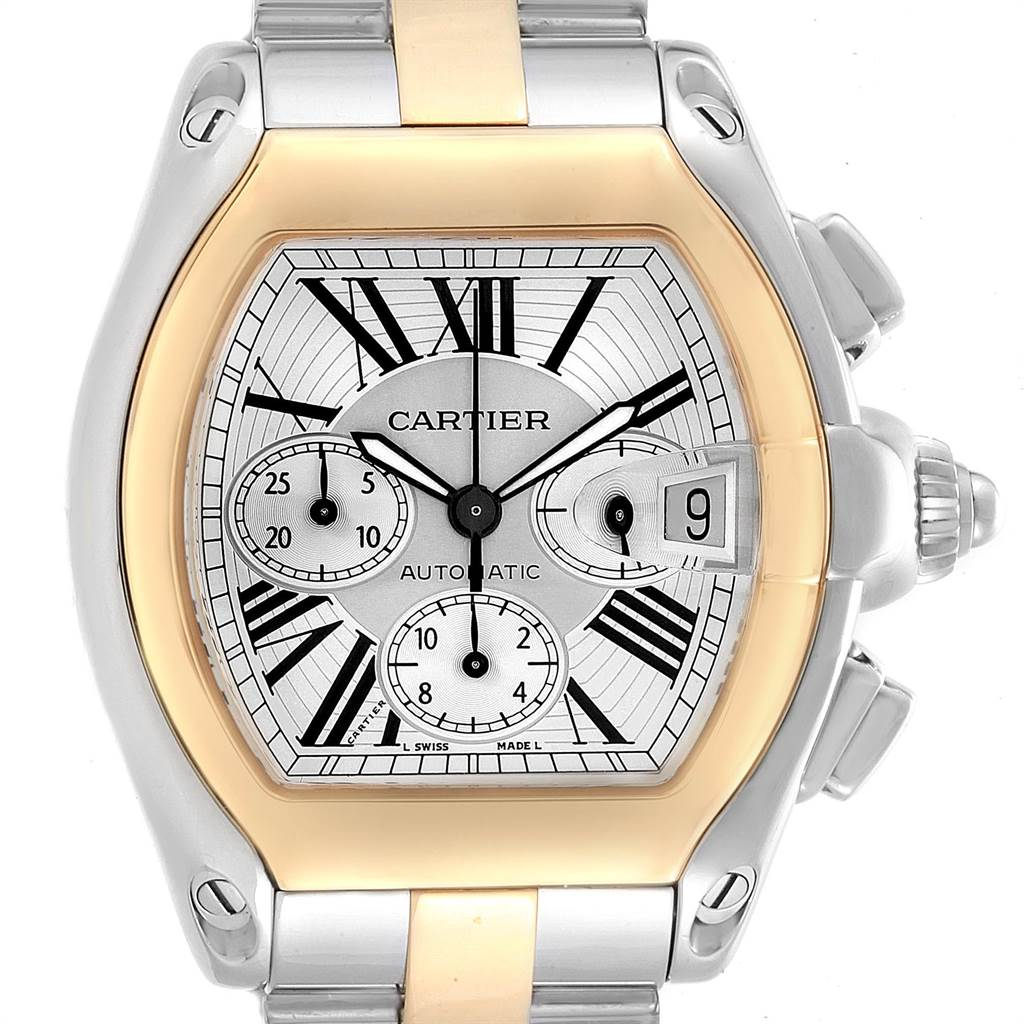 22874 Cartier Roadster Chronograph Mens Steel Yellow Gold Watch W62027Z1 SwissWatchExpo