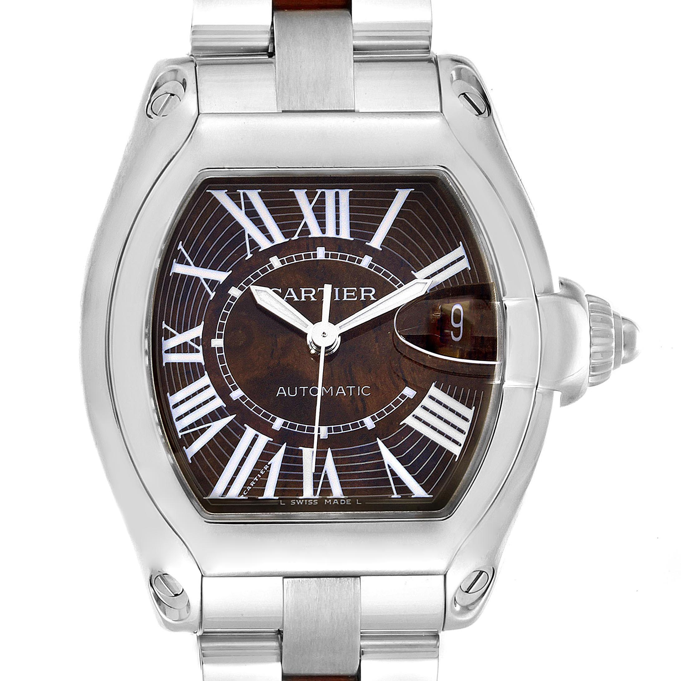 Photo of Cartier Roadster XL White Gold Walnut Wood Limited Edition Watch W6206000