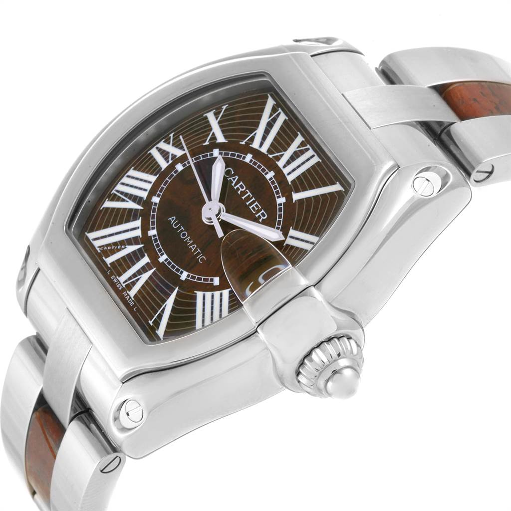 Cartier Roadster XL White Gold Walnut Wood Limited Edition Watch W6206000 SwissWatchExpo