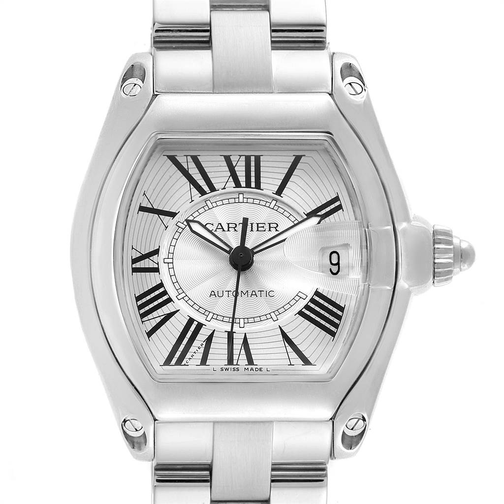 22876 Cartier Roadster Silver Roman Dial Steel Mens Watch W62025V3 SwissWatchExpo