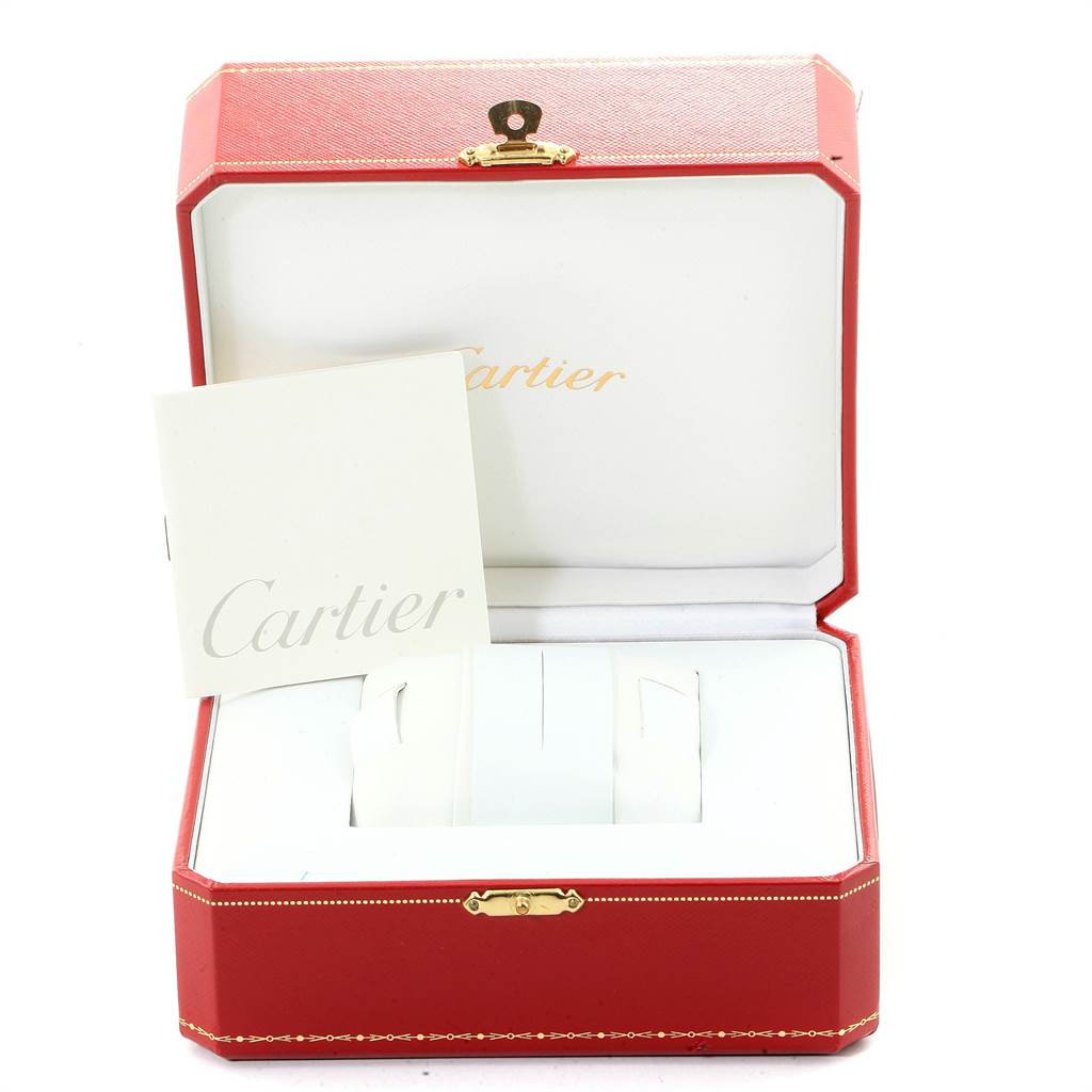 22823 Cartier Roadster S Silver Dial Red Strap Steel Unisex Watch W6206018 SwissWatchExpo