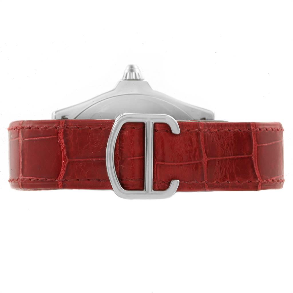 Cartier Roadster S Silver Dial Red Strap Steel Unisex Watch W6206018 SwissWatchExpo