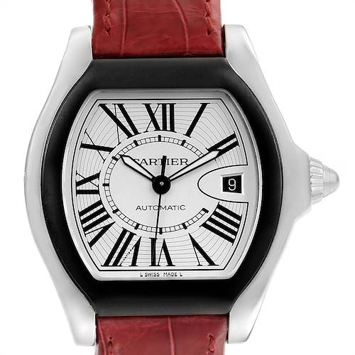 Photo of Cartier Roadster S Silver Dial Red Strap Steel Unisex Watch W6206018