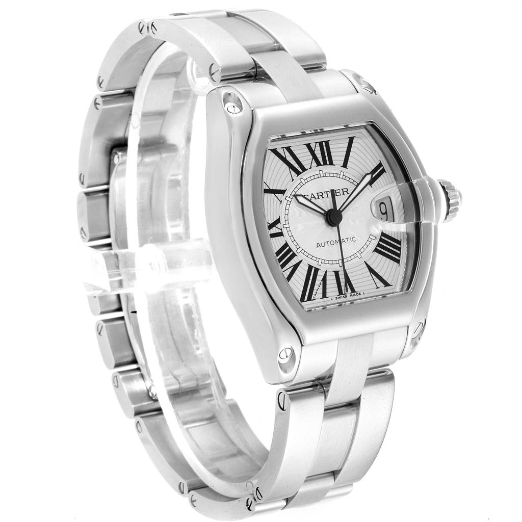 22574 Cartier Roadster Silver Dial Steel Mens Watch W62025V3 Box Papers Strap SwissWatchExpo