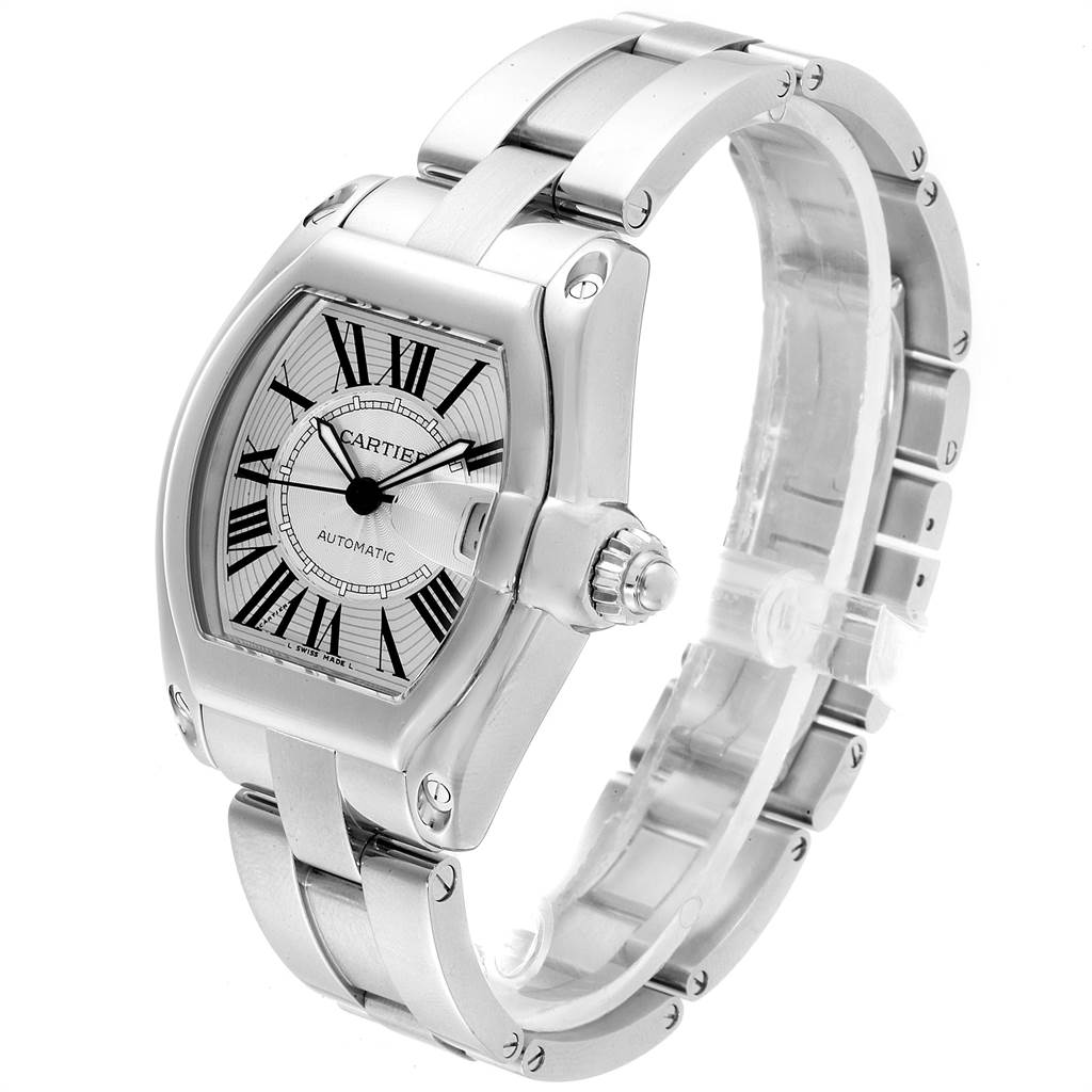 Cartier Roadster Silver Dial Steel Mens Watch W62025V3 Box Papers Strap SwissWatchExpo
