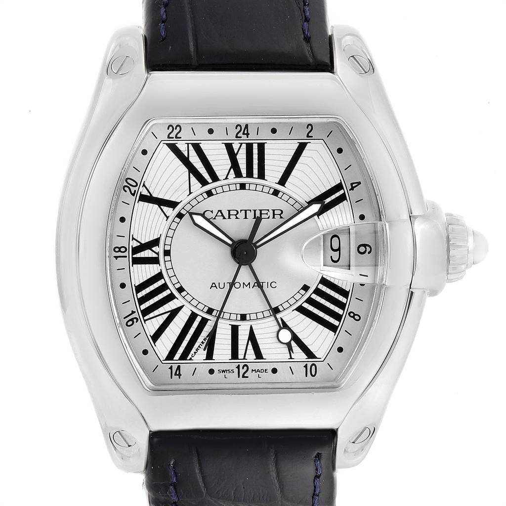 13770A Cartier Roadster GMT Silver Dial Stainless Steel Mens Watch W62032X6 SwissWatchExpo