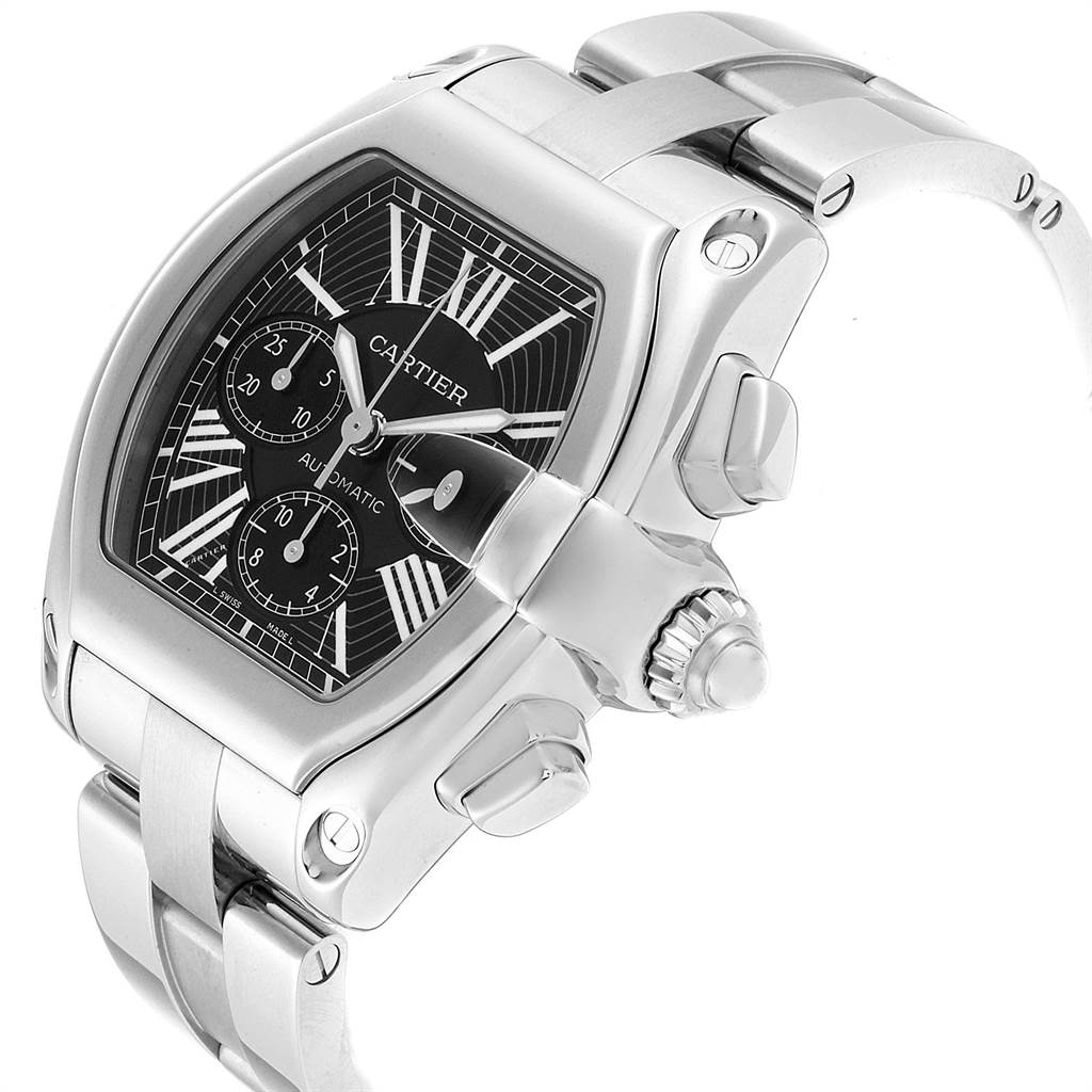 23044 Cartier Roadster XL Chrono Black Dial Automatic Mens Watch W62020X6 SwissWatchExpo