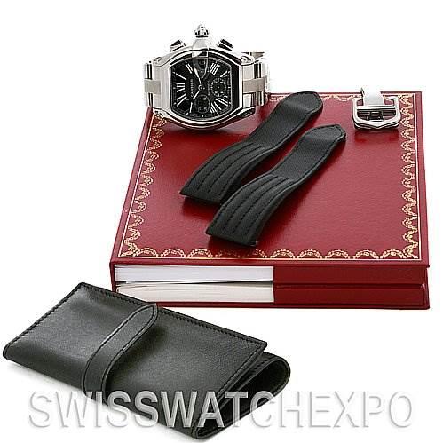 2569 Cartier Roadster Chronograph Mens Black Dial W62020x6 SwissWatchExpo