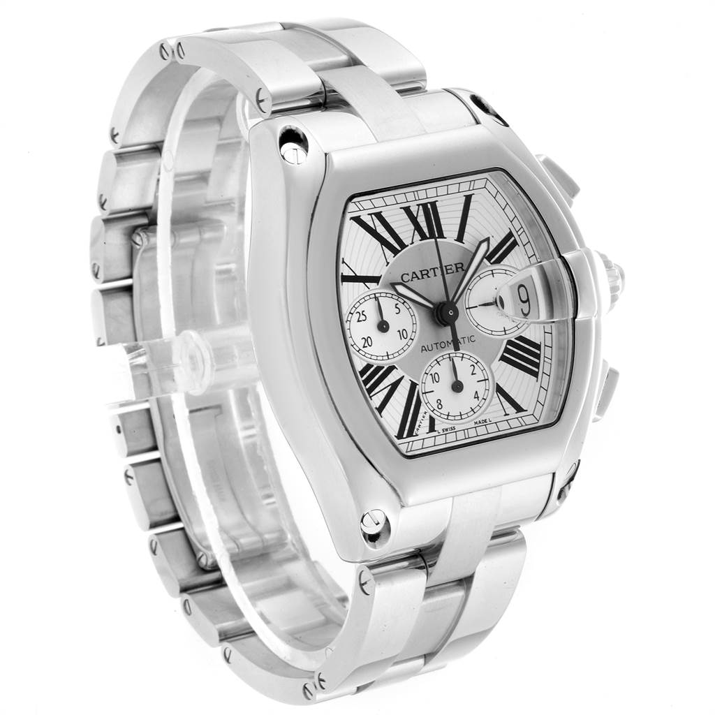 22947 Cartier Roadster XL Chronograph Steel Mens Watch W62019X6 Box Papers SwissWatchExpo