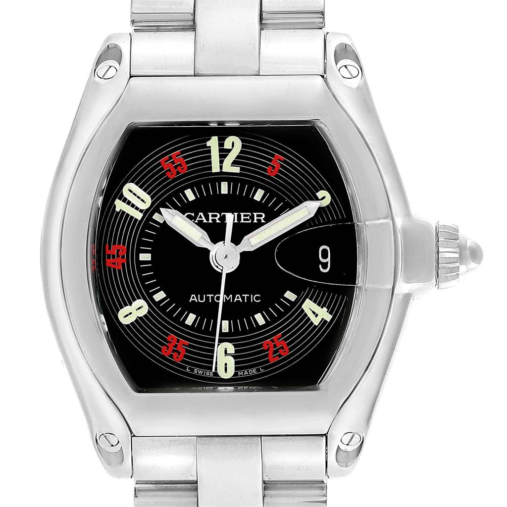 23288 Cartier Roadster Vegas Roulette Red Green Mens Watch W62002V3 Box Papers SwissWatchExpo