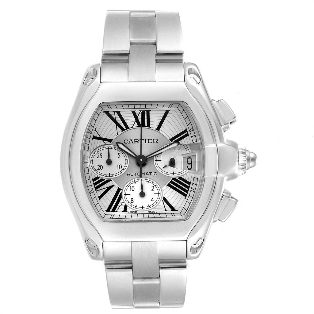23306 Cartier Roadster XL Chronograph Roman Numerals Mens Watch W62019X6 SwissWatchExpo