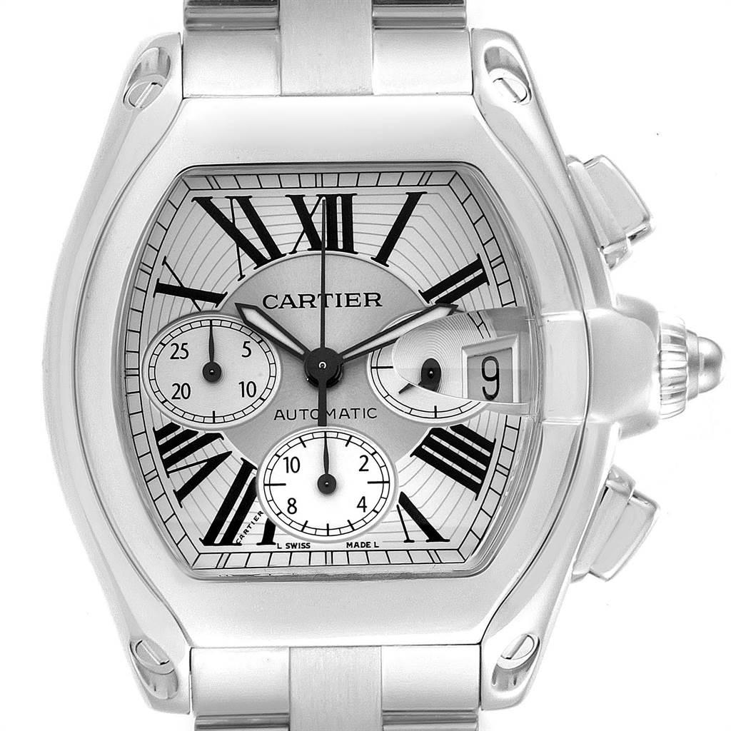 Cartier Roadster XL Chronograph Roman Numerals Mens Watch W62019X6 SwissWatchExpo