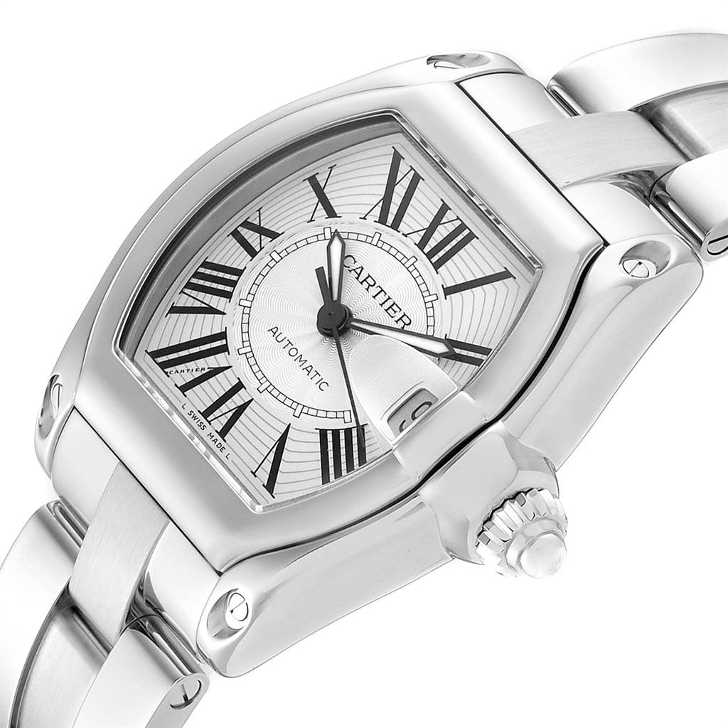 23596 Cartier Roadster Silver Dial Steel Mens Watch W62025V3 Box Papers Strap SwissWatchExpo