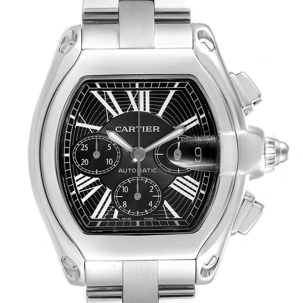 23593 Cartier Roadster XL Chrono Black Dial Automatic Mens Watch W62020X6 SwissWatchExpo