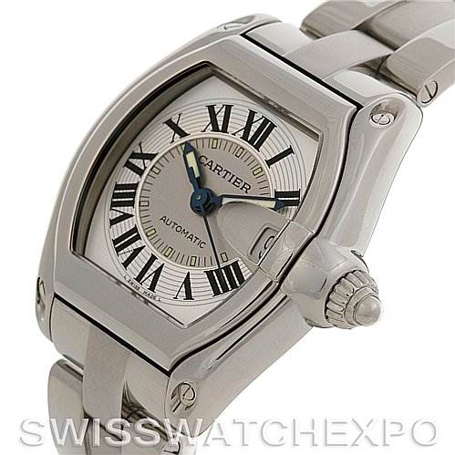 2576 Cartier Roadster Mens Ss Large Silver Dial W62025v3 SwissWatchExpo