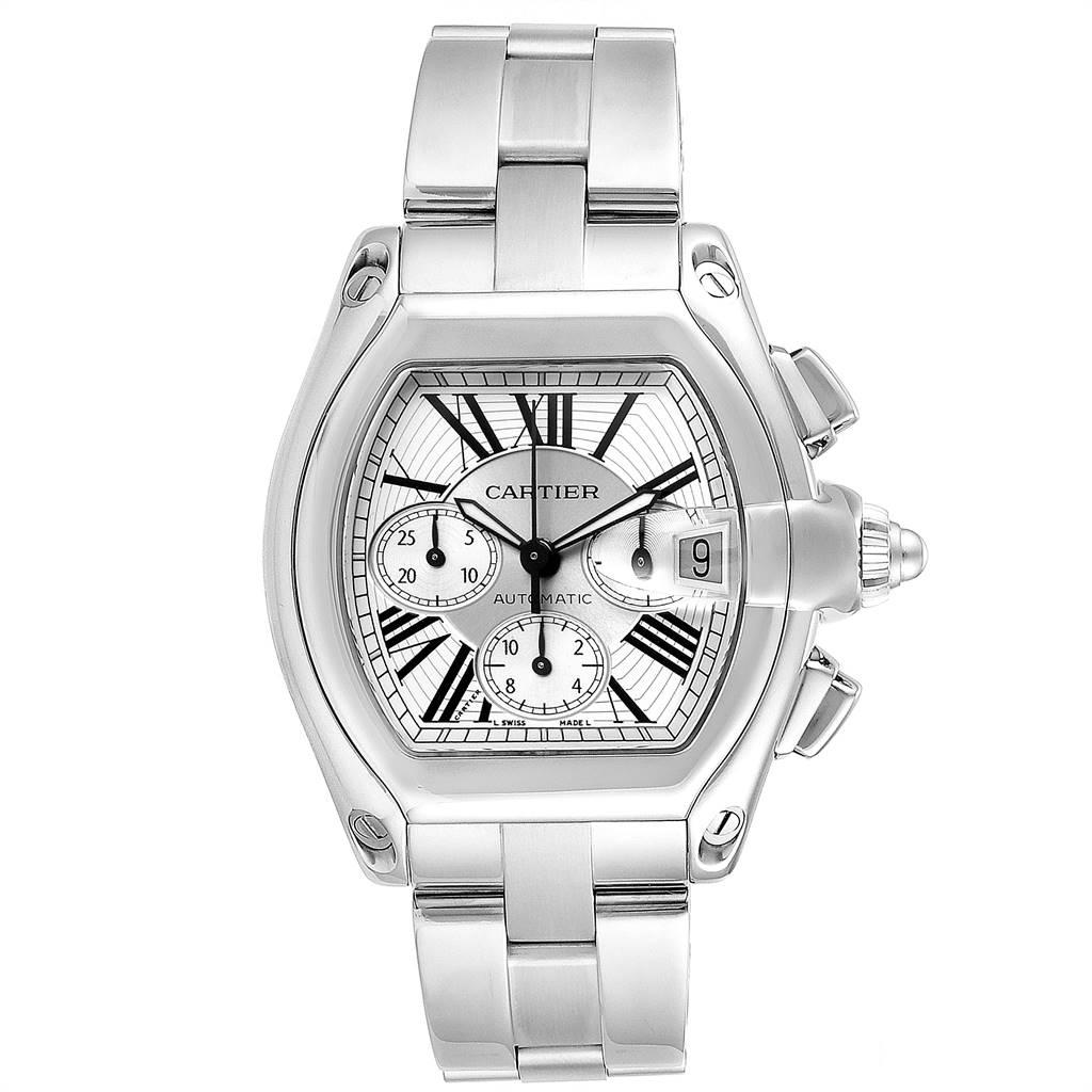 23302 Cartier Roadster XL Chronograph Automatic Mens Watch W62019X6 Box SwissWatchExpo