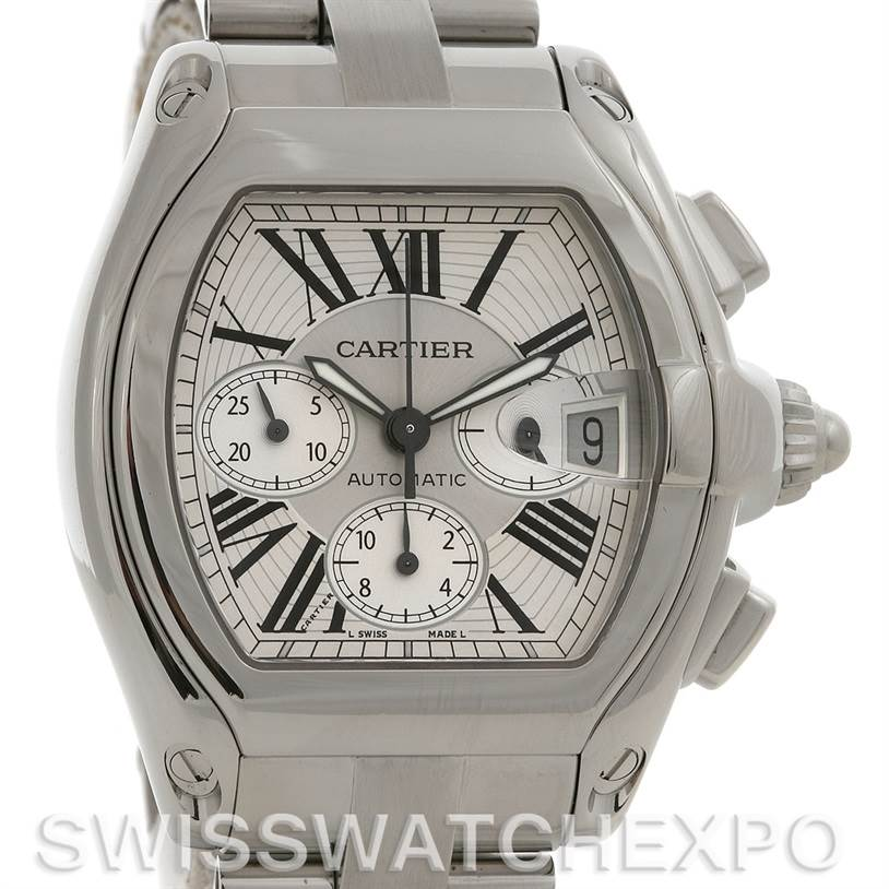 2584 Cartier  Roadster Chronograph Mens W62019X6 Extra Strap SwissWatchExpo